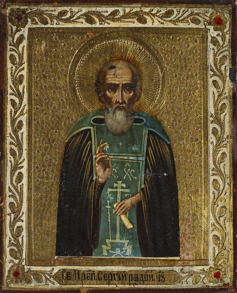 IKONA, ŚW. SERGIUSZ Z RADONEŻA, Rosja, k. XIX w.