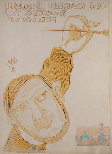 Karykatura autora, 1978 Ukrywanie własnych wad jest szczególną skromnością