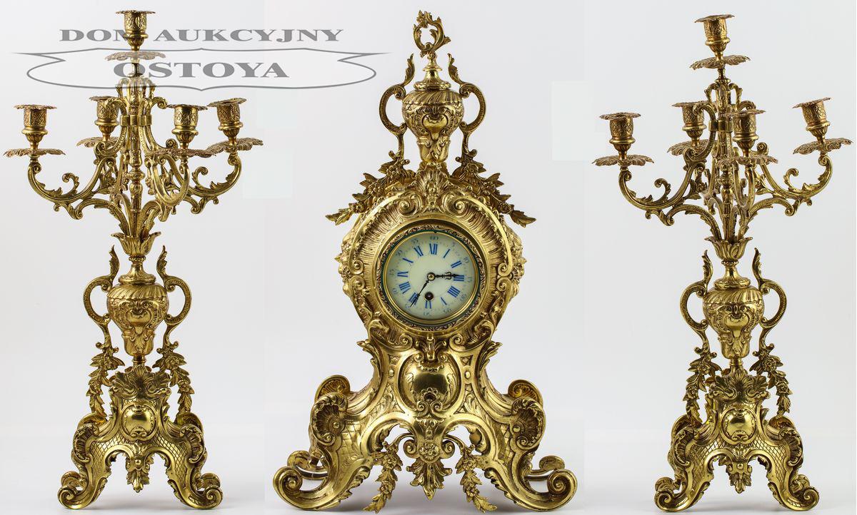ZEGAR Z PARĄ KANDELABRÓW W STYLU BAROKOWYM, Francja, Paryż, Japy Freres, 3 tercja XIX w.