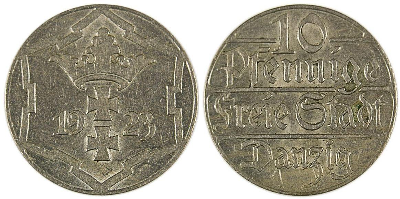 WOLNE MIASTO GDAŃSK - 10 FENIGÓW 1923