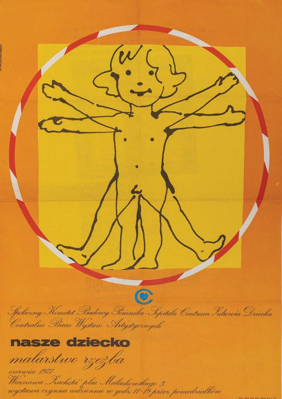 Plakat NASZE DZIECKO MALARSTWO I RZEŹBA, 1977