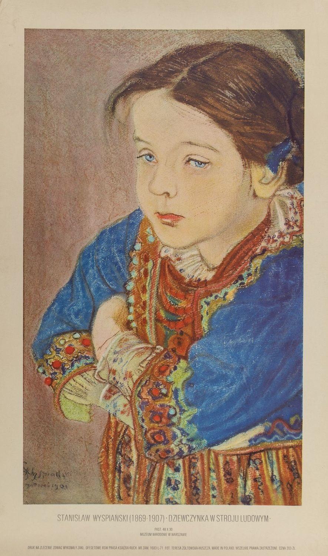 Plakat STANISŁAW WYSPIAŃSKI (1869 - 1907) DZIEWCZYNKA W STROJU LUDOWYM, ok. 1980