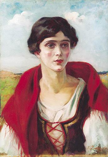 Portret młodej kobiety w wieśniaczym stroju