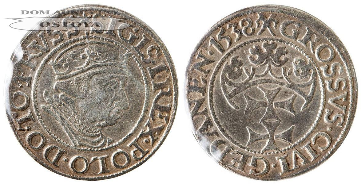 Zygmunt I Stary, Grosz Gdański 1538, Gdańsk