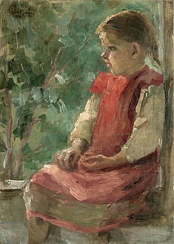 Jasnowłosa dziewczynka w różowym fartuszku i białej bluzeczce