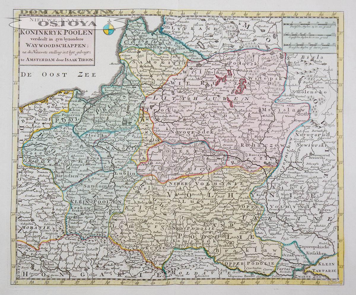 MAPA POLSKI, Isaak Tirion, Amsderdam 1733