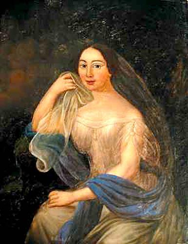 Portret kobiety w błękitnym szalu