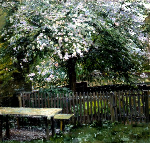 Sad - kwitnące drzewo