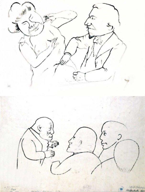 Pogawędka, 1922 avers: Szkic czterech postaci