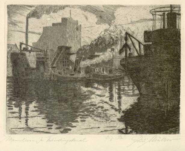 Kanał portowy w Mannheim sygnowany p.d.