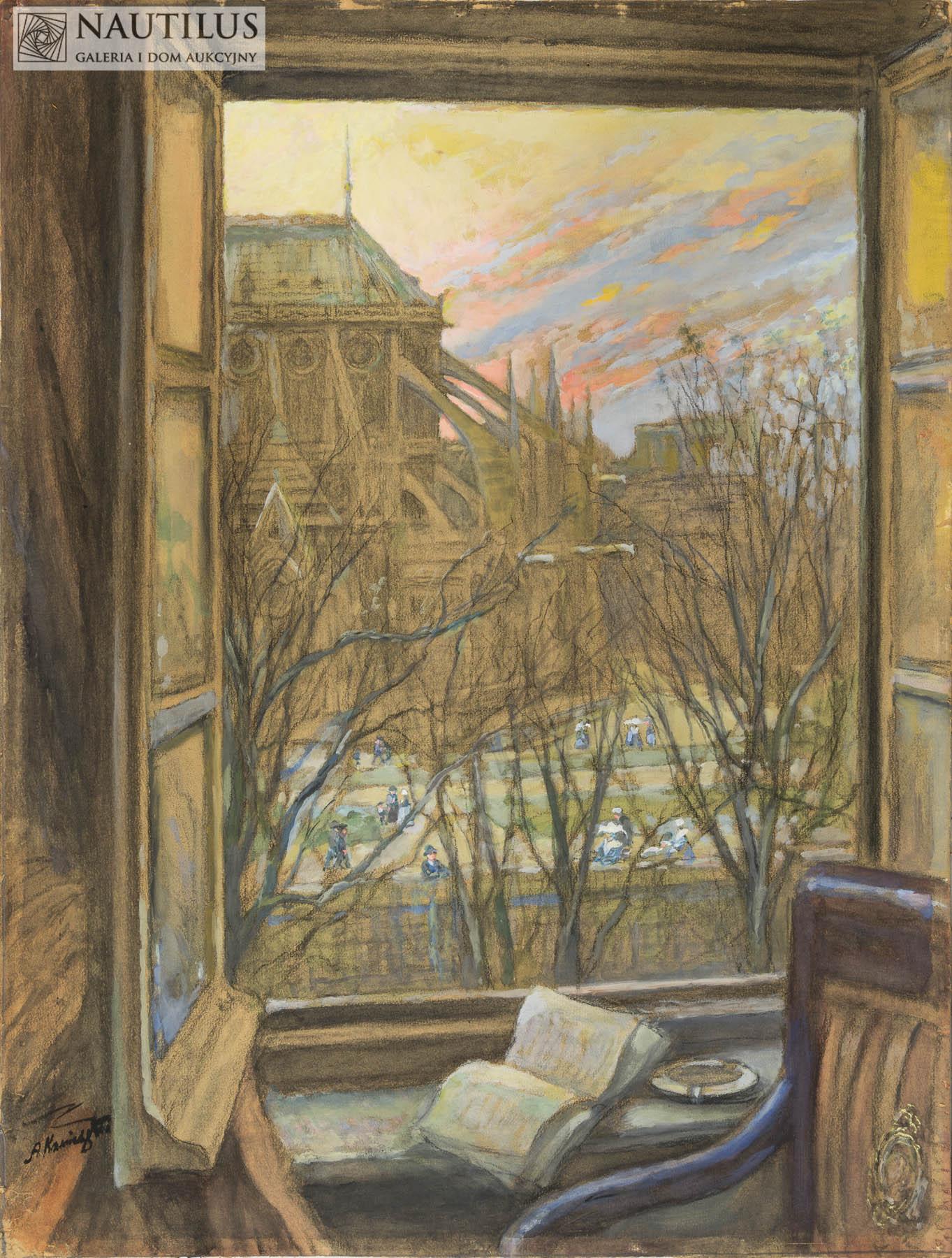 Widok na Katedrę Notre Dame w Paryżu, ok. 1912