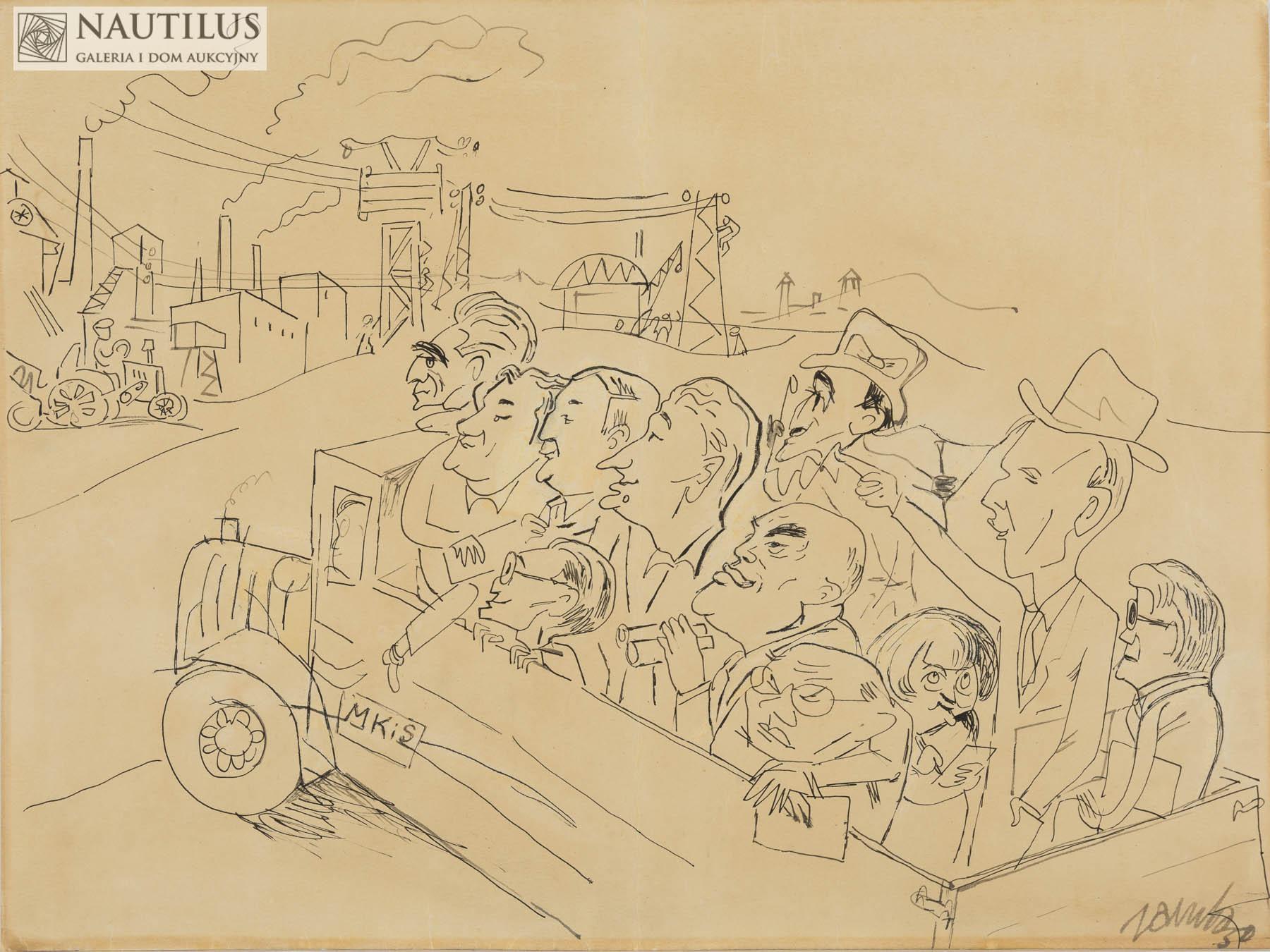Wycieczka literatów na plac budowy, 1950