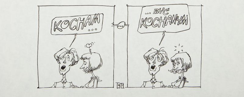 Kocham...być kochanym, ilustracja satyryczna, 1991 r.