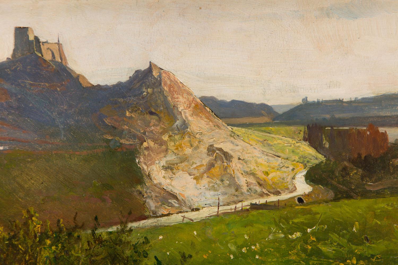 Pejzaż z zamkiem na wzgórzu