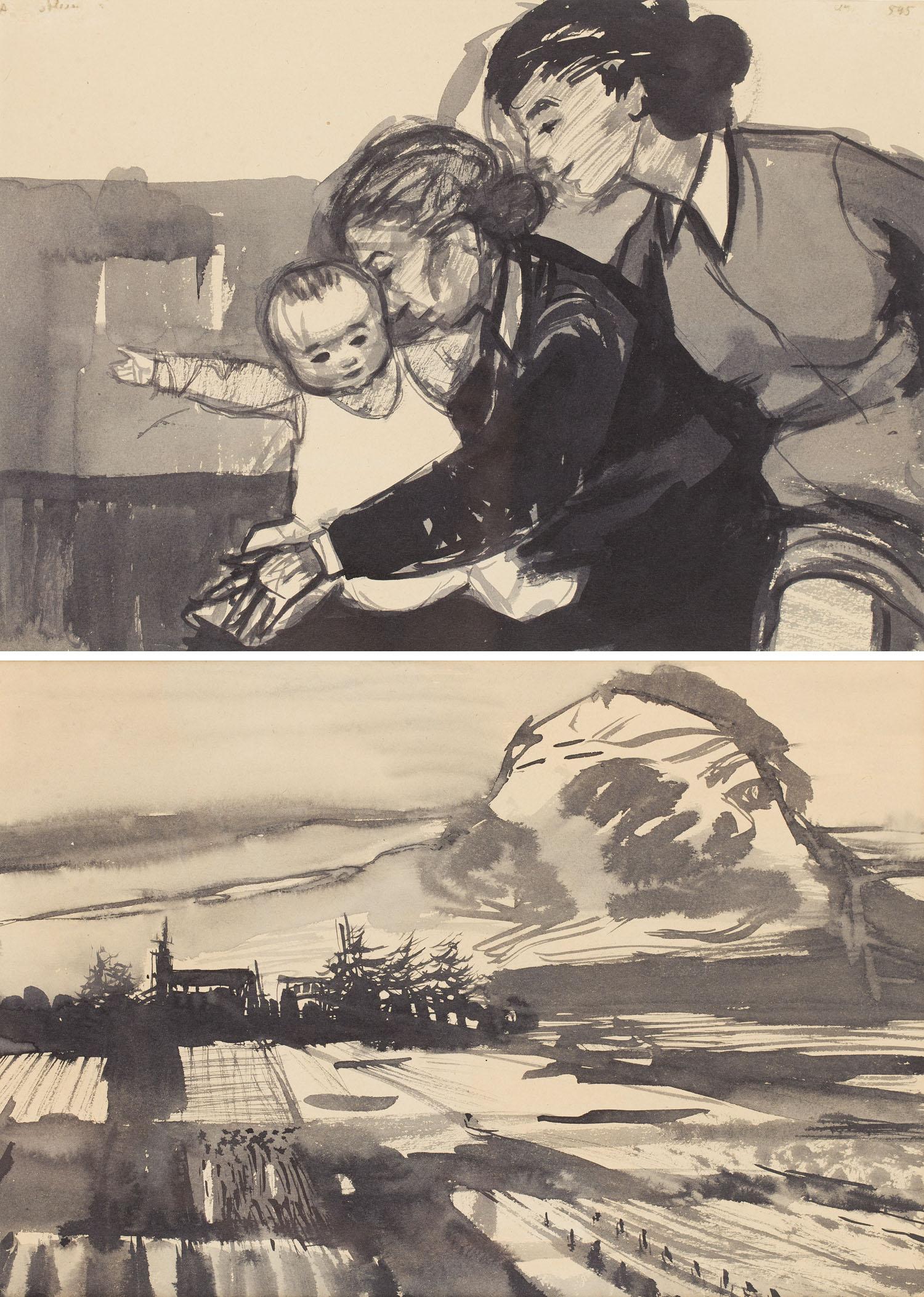 Praca dwustronna: [Kobiety z dzieckiem, Kompozycja figuralna nr 545] na odwrociu [Pejzaż z chmurą, Pejzaż nr 545], około 1954 r.