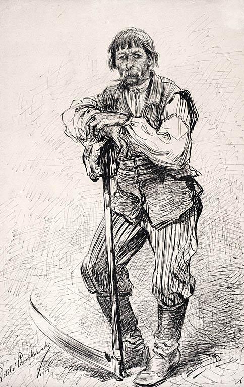 CHŁOP Z KOSĄ, 1884
