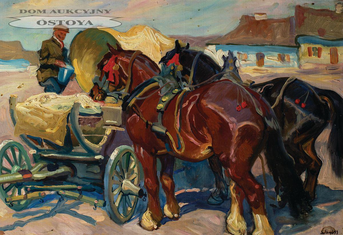 KONIE PRZY WOZIE, 1927