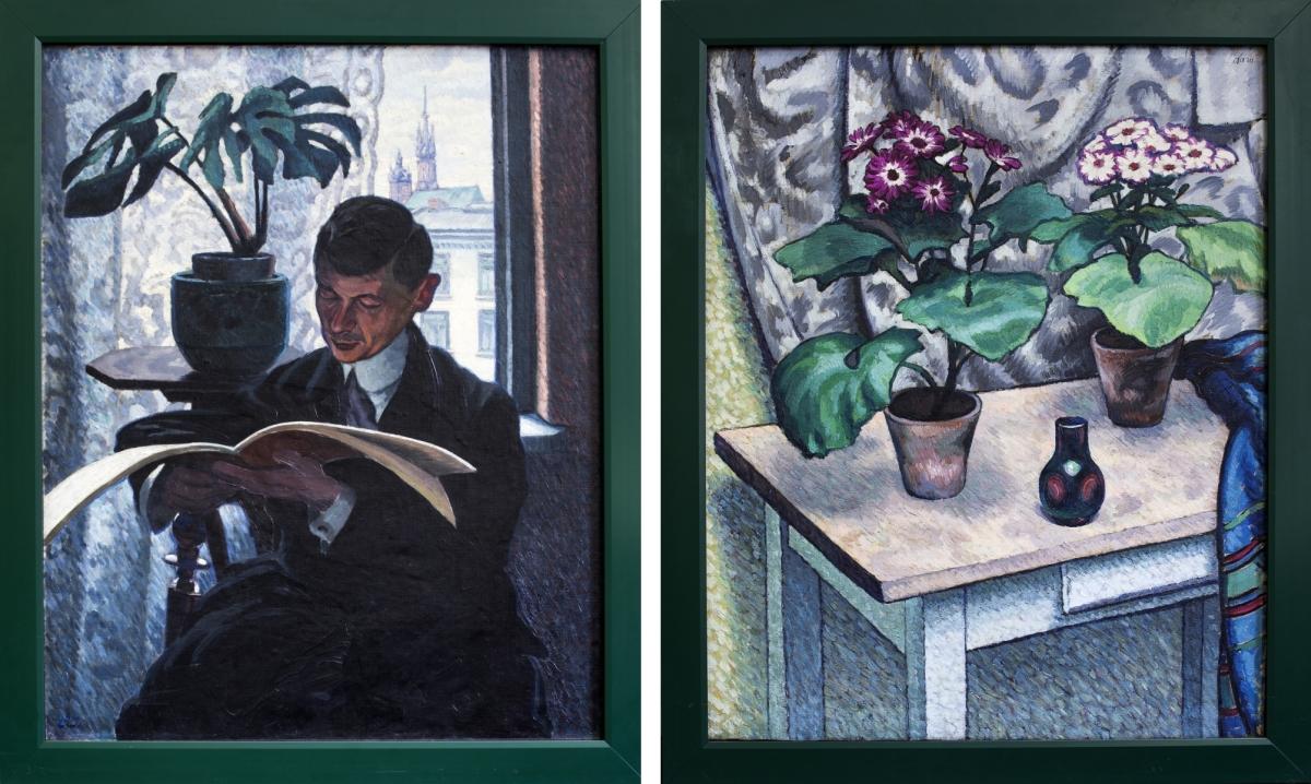 Portret męski / Martwa natura z kwiatami, obraz dwustronny, lata 20. XX w.