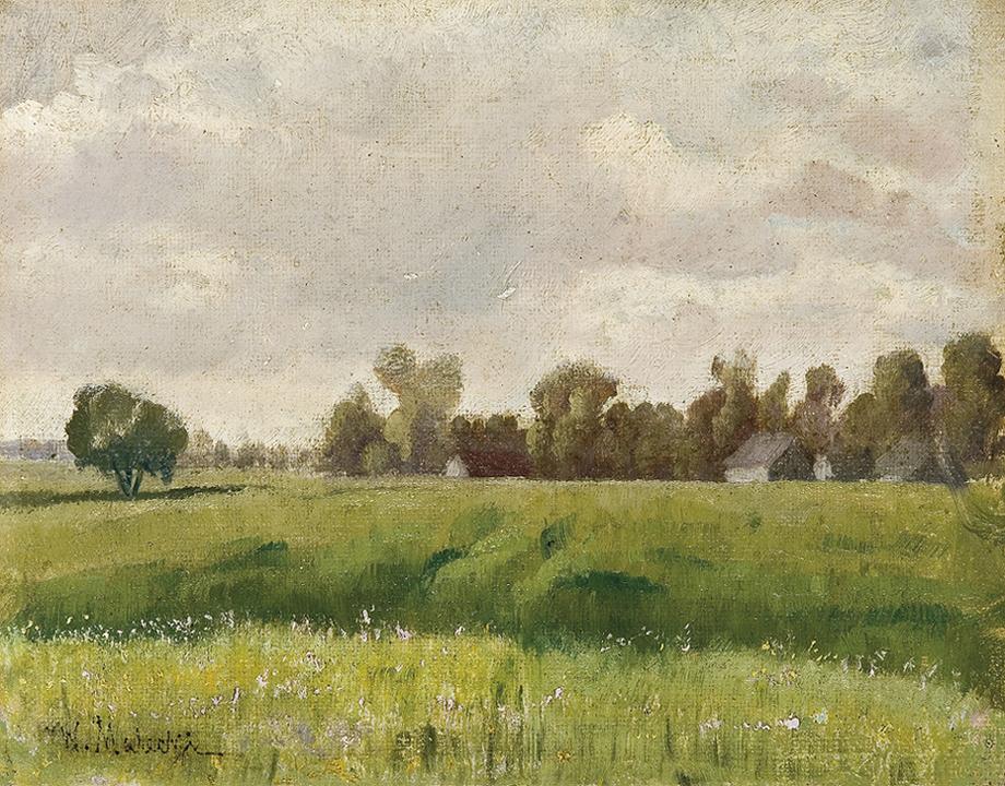 PEJZAŻ Z WIOSKĄ W ODDALI, 1897