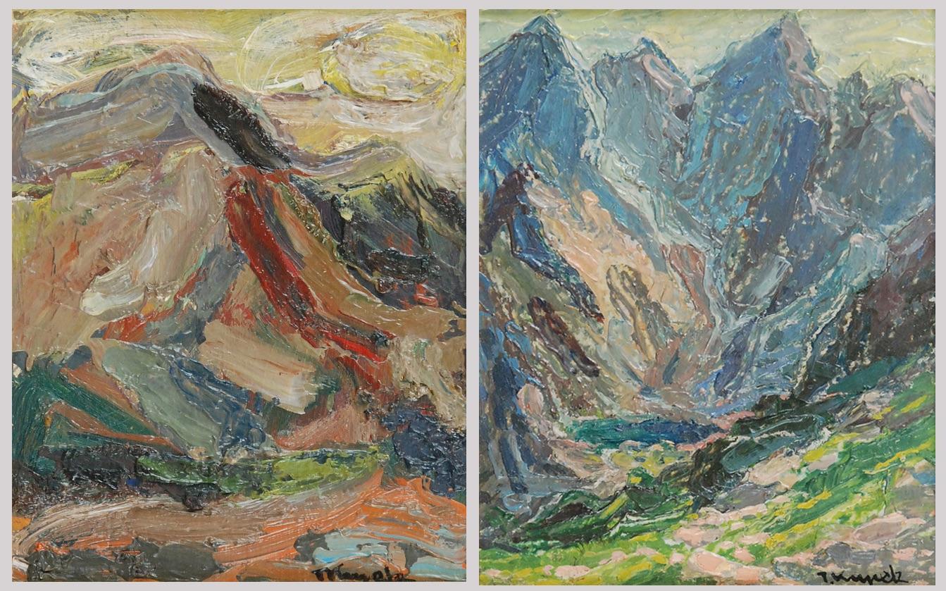 Para obrazów z widokiem gór