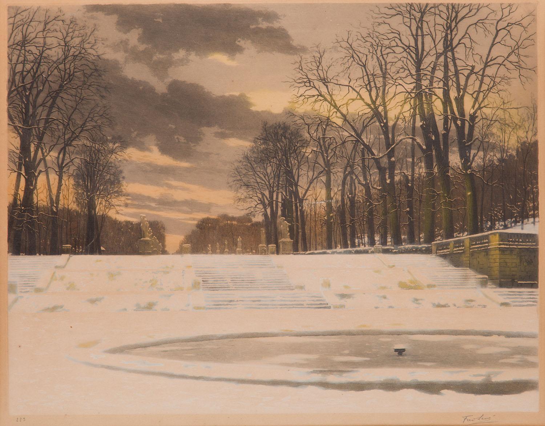 Aleja parkowa w Wersalu zimą