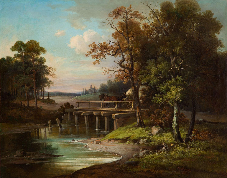 Pejzaż z przeprawą przez most i widokiem na kościół , 1863 r.