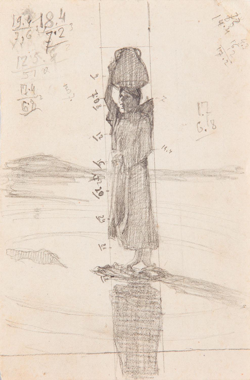 Kobieta z dzbanem - szkic kompozycyjny