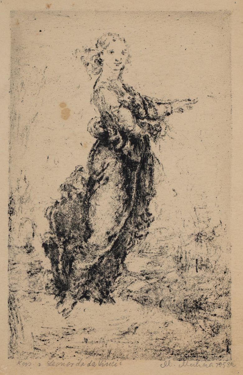 KOBIETA W DŁUGIEJ SUKNI (według Leonarda da Vinci), 1953