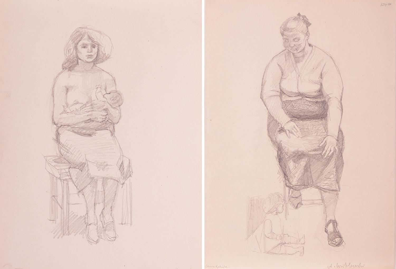 Praca dwustronna: [Kompozycja figuralna nr 524] - szkic do obrazu Młoda matka z dzieckiem, na odwrociu [Kompozycja figuralna 524] - szkic do obrazu Matki, Antyfaszystki, Macierzyństwo, około 1955 r.