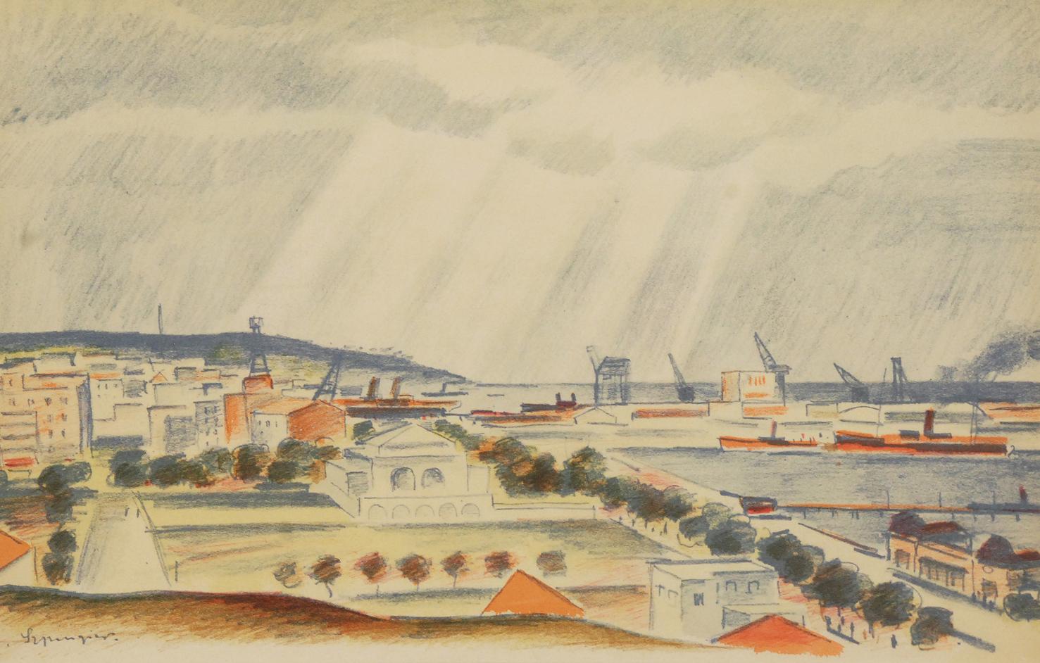 Port w Gdyni. Widok ogólny z Kamiennej Góry
