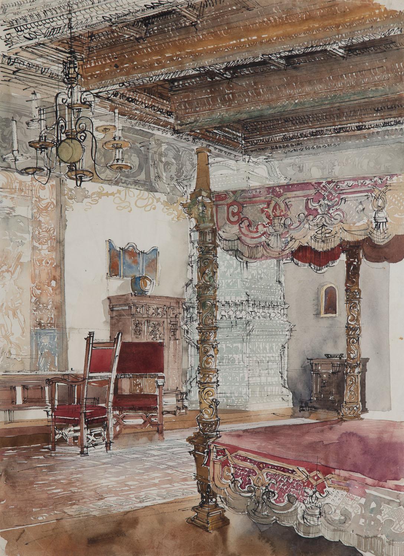 Wnętrze komnaty na Wawelu - Sypialnia gości królewskich, 1961 r.