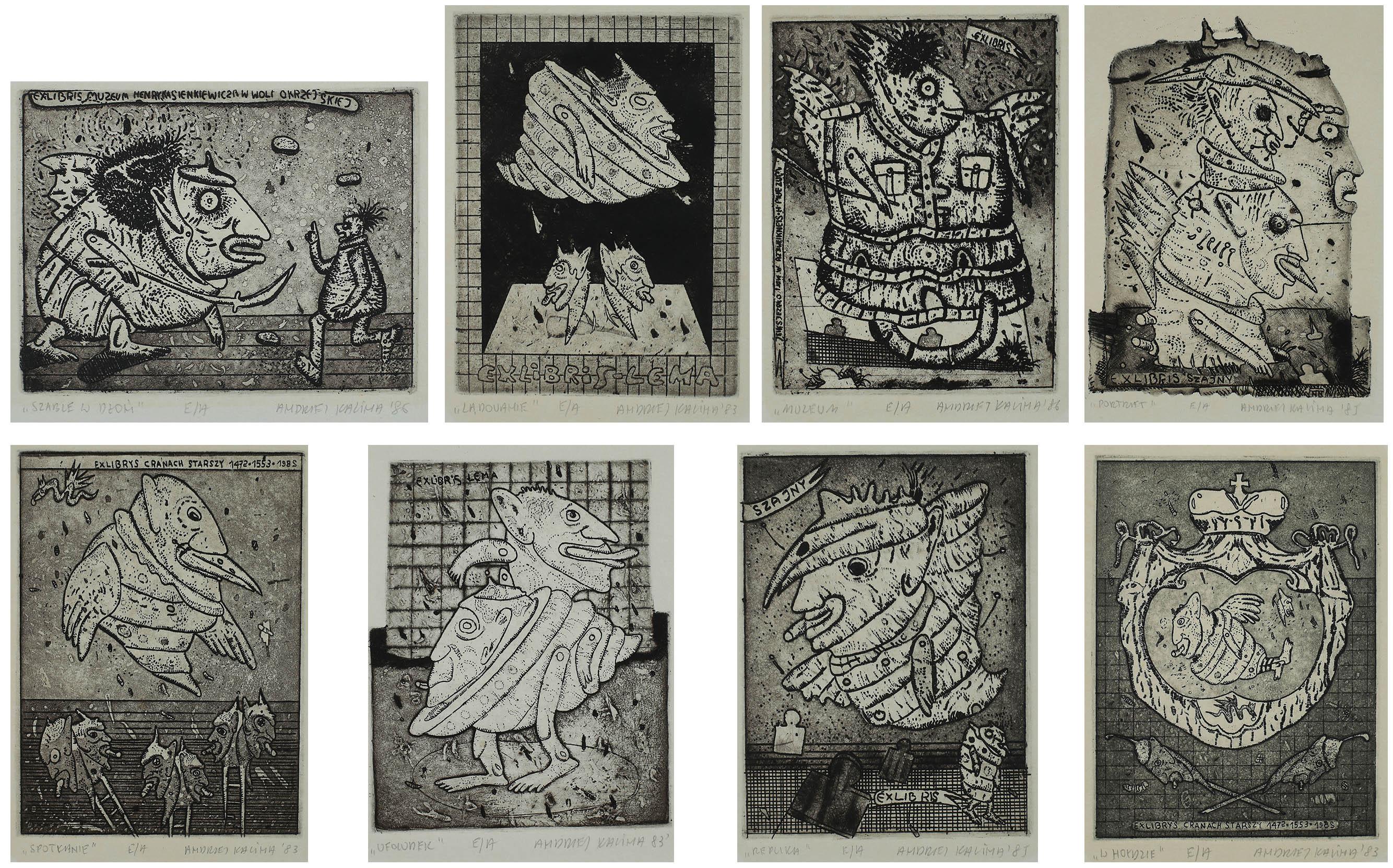 Zbiór 8 exlibrisów, 1983 - 1986 r.