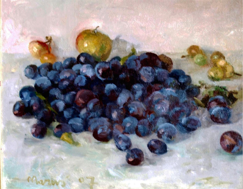 Węgierki – martwa natura ze śliwkami i jabłkami, 2007