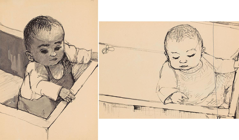 [Kitek, Kompozycja figuralna nr 509] praca dwustronna, 1954 r.