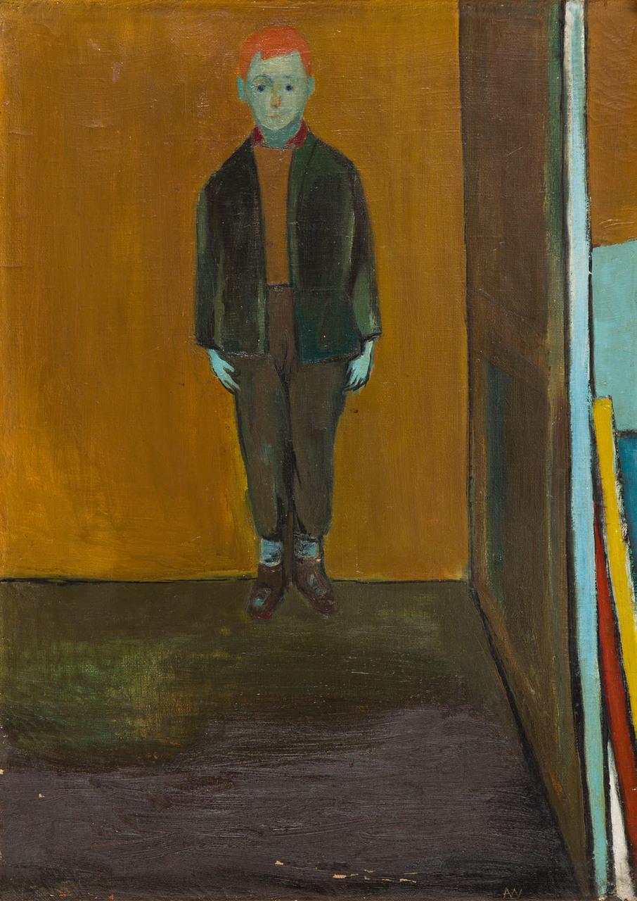 Chłopak na żółtym tle (Chłopczyk) | Chłopak na ugrowym tle (Model, Szkic chłopca), 1956 r., (praca dwustronna)