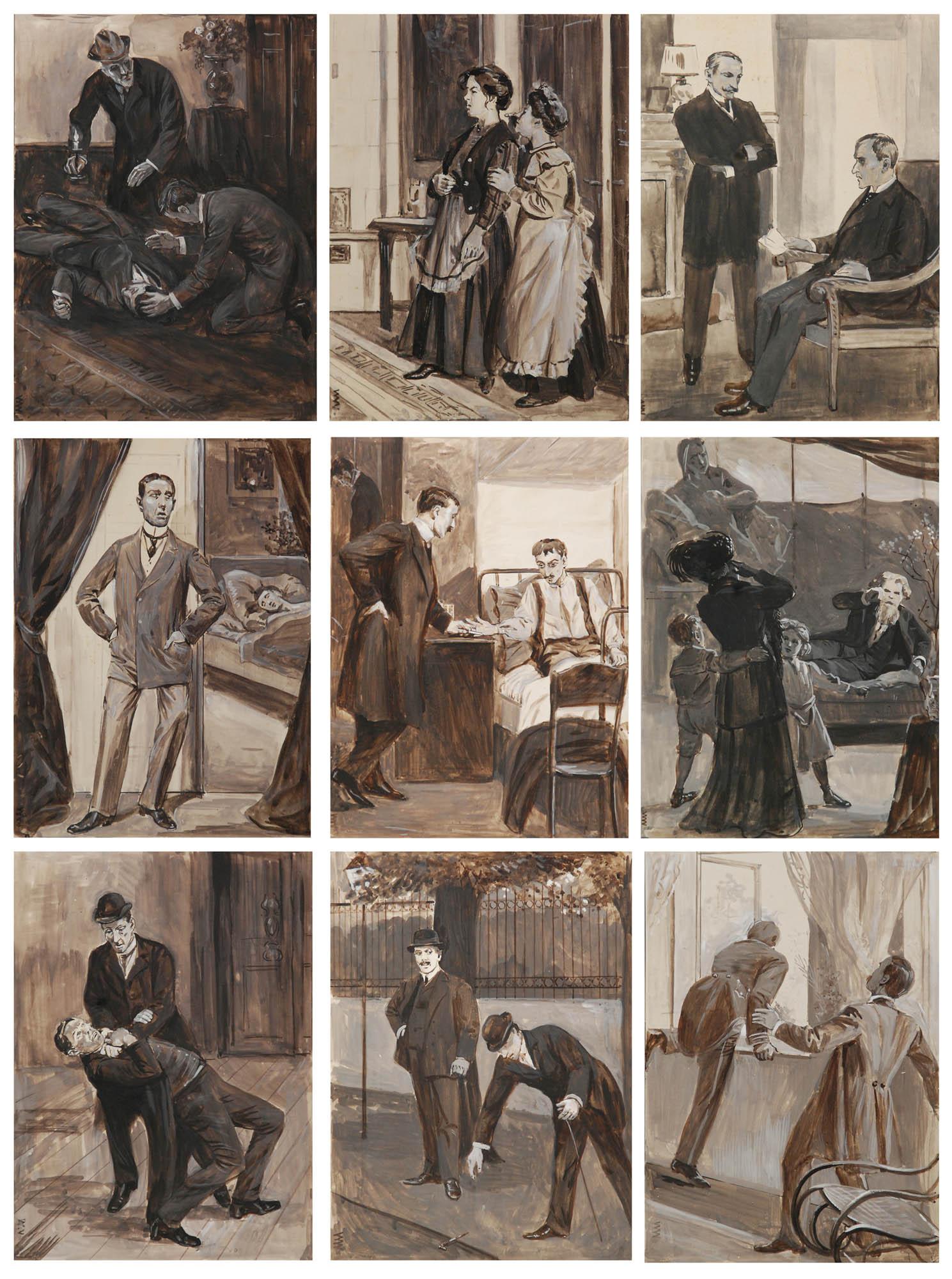 Zestaw dziewięciu ilustracji do książki
