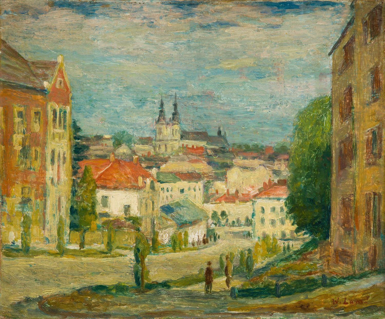 Pejzaż lwowski z widokiem na kościół św. Marii Magdaleny, lata 30. XX w.
