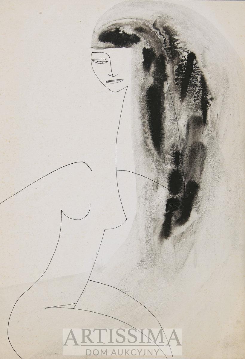 Akt długowłosej dziewczyny, 1953