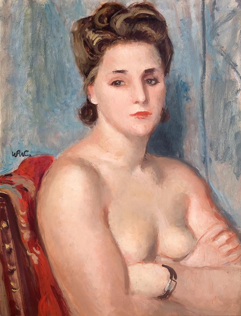 Kobiecy akt z zegarkiem