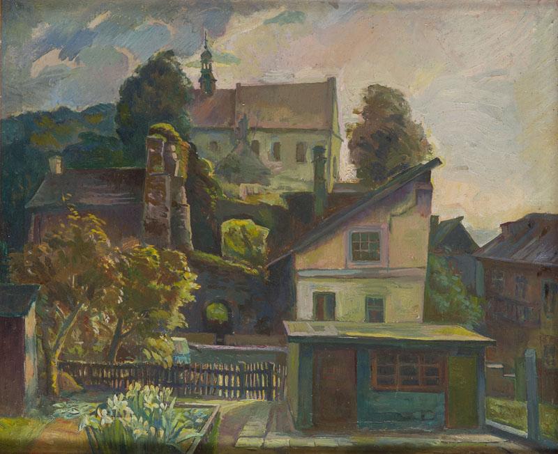 Widok na Klasztor Reformatów w Kazimierzu Dolnym (Pejzaż z klasztorem i piekarnią), około 1965-66 r.