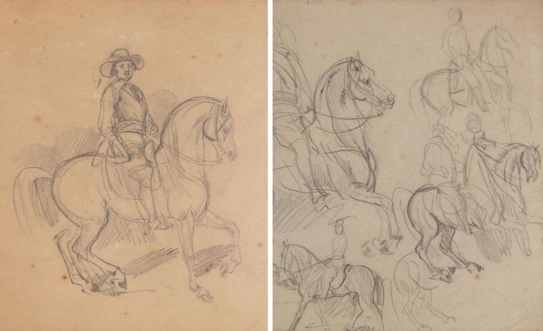 Rajtar na koniu (recto) / Szkice postaci (verso)