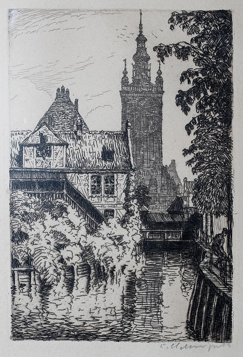 Widok z mostu przy ul. Korzennej na kościół św. Katarzyny, przed 1925 r.