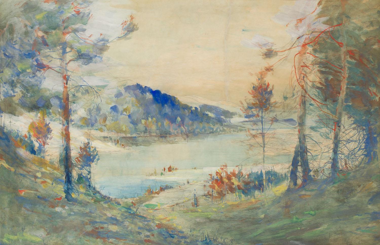 Krajobraz z jeziorem