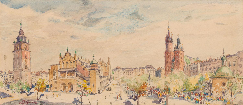 Widok na krakowski Rynek, 1932 r.
