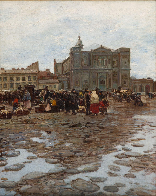 """Widok na Plac Grzybowski w Warszawie (""""Budowa kościoła Wszystkich Świętych""""), przed 1892"""