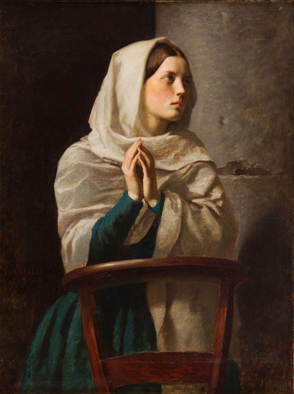 Dziewczyna modląca się w kościele, 1854