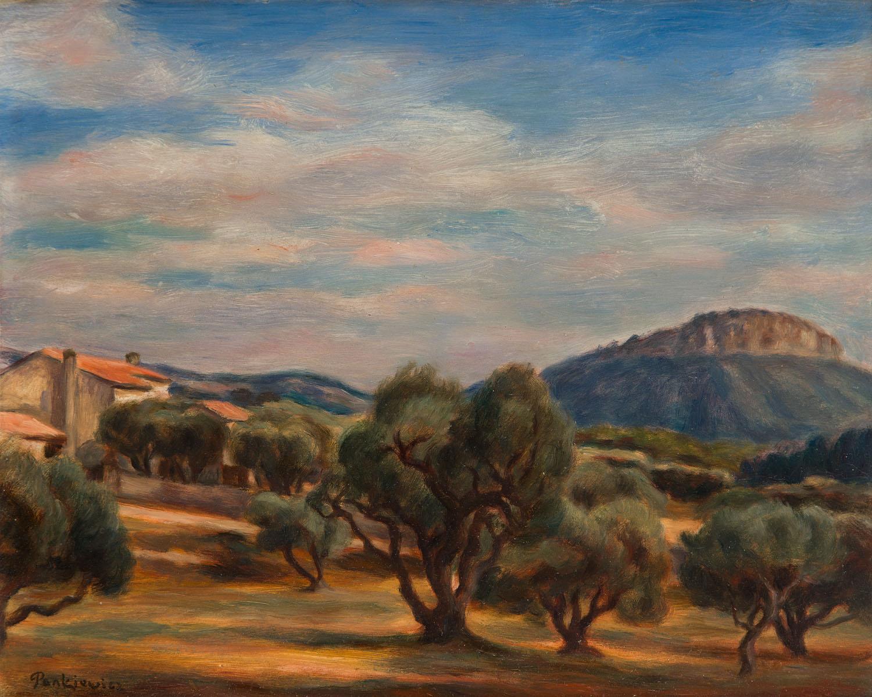Widok z gaju oliwkowego na Couronne de Charlemange w Cassis, 1928