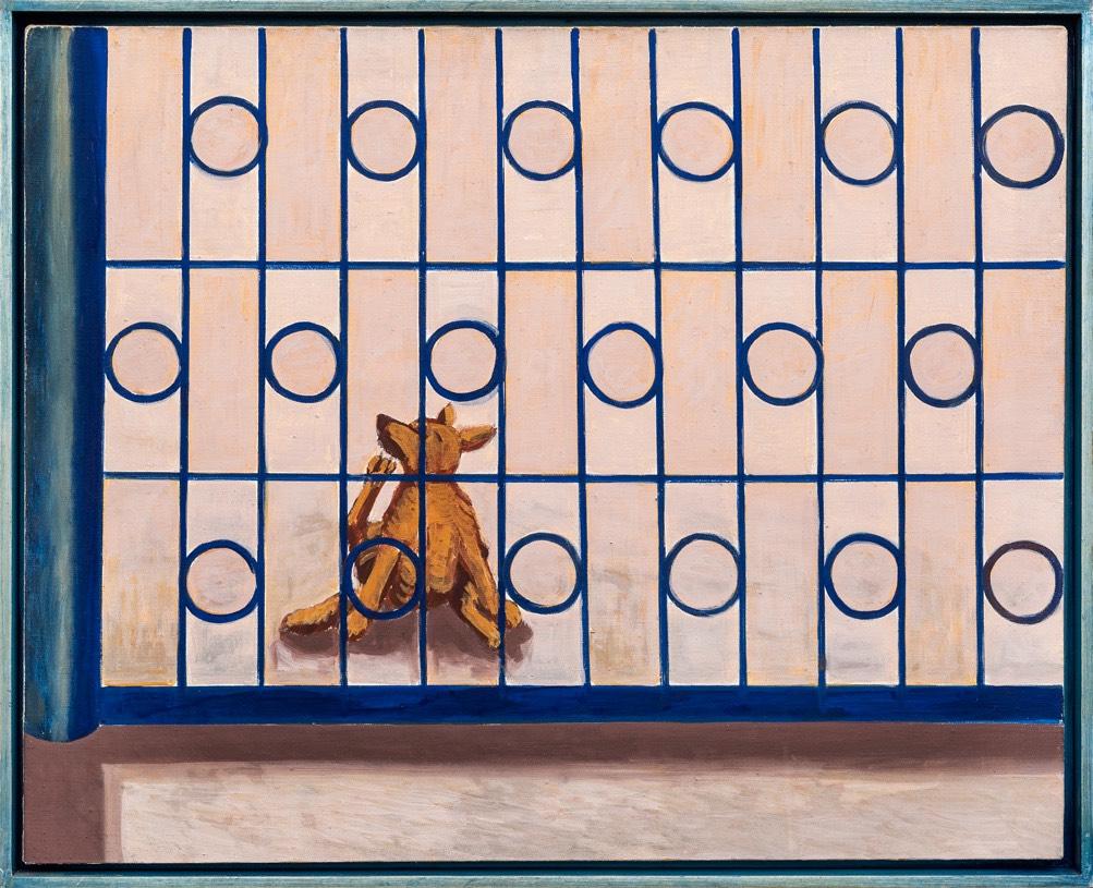 Piesek drapie się za bramą, 2001