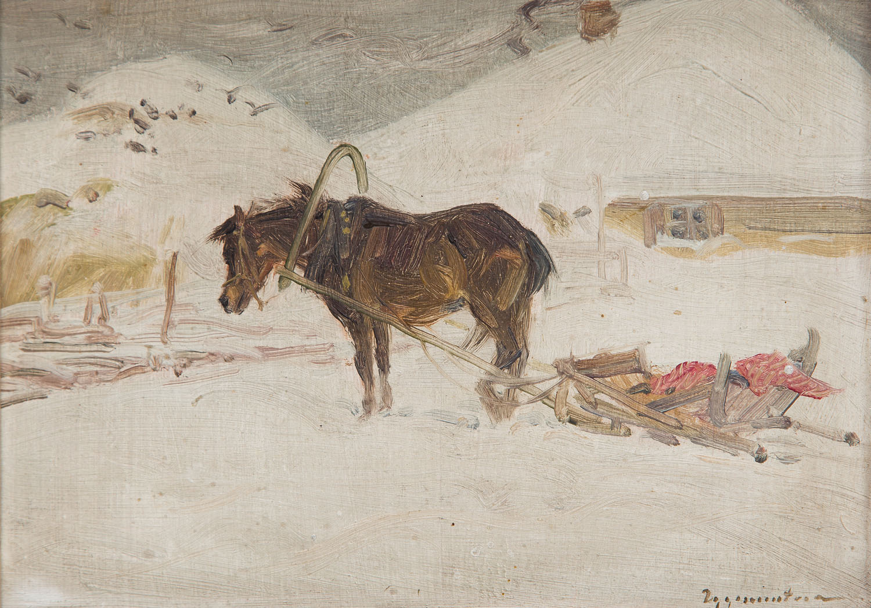 Koń z saniami zimą