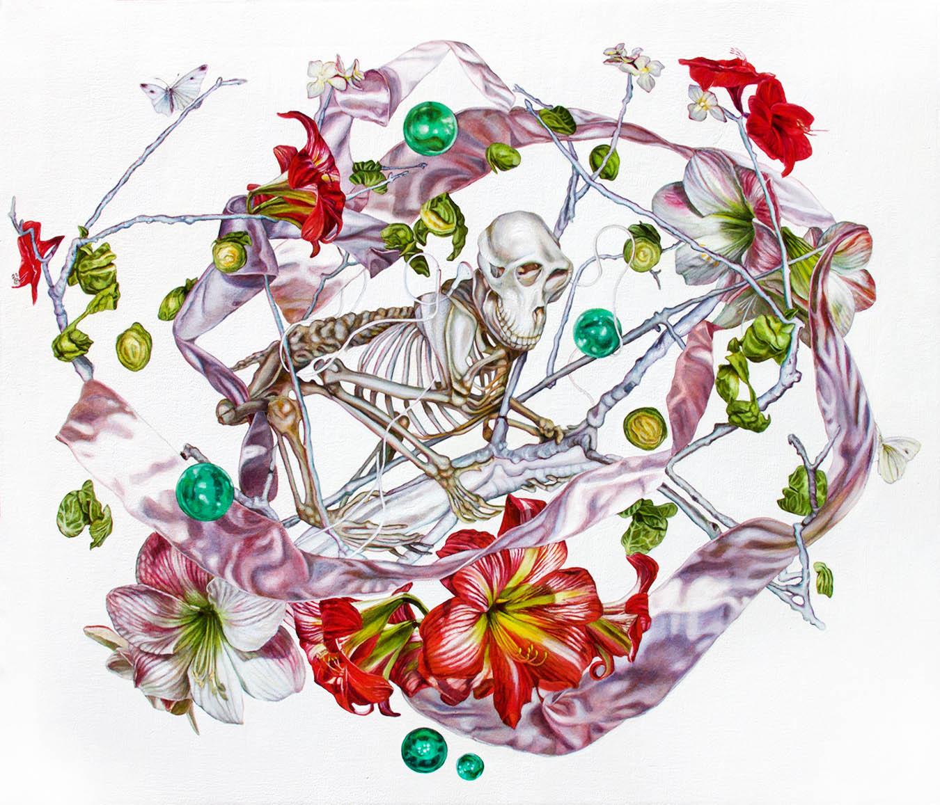Szkielet małpy z kwiatami Amarylisu, z serii Drzewo Życia, 2018